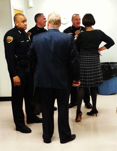 Bloomington police chat with community leaders at the event. Photo by Nia Gilbert