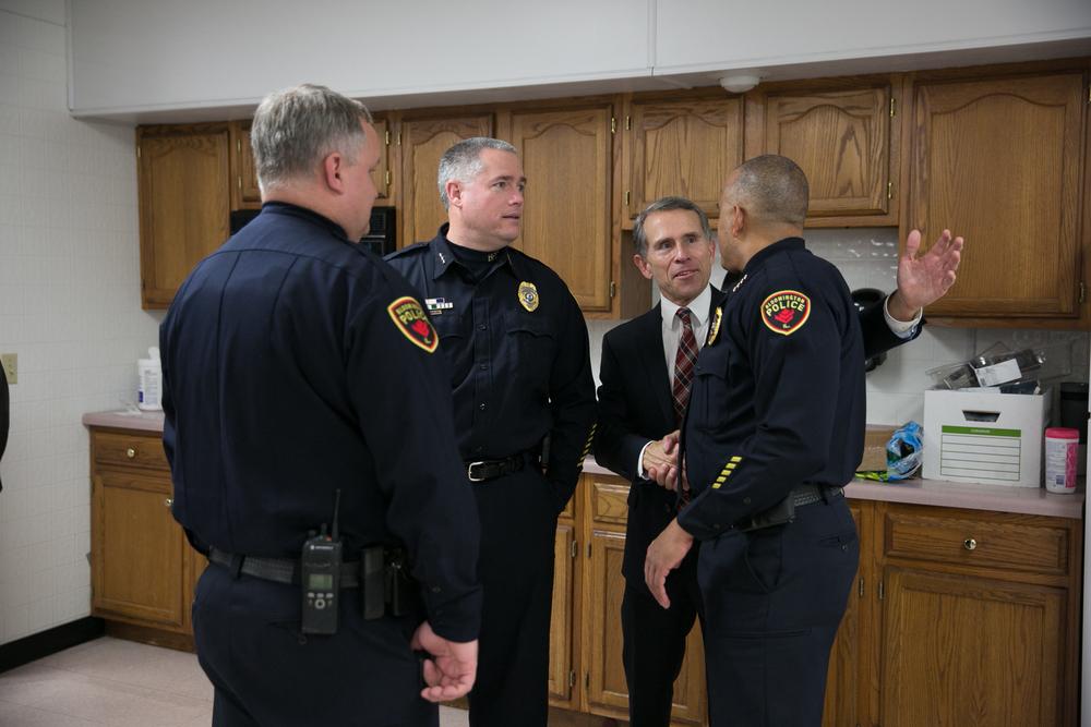 Chief Brendan Heffner, right, with Mayor Renner, at NIOT:BN's December relaunch.