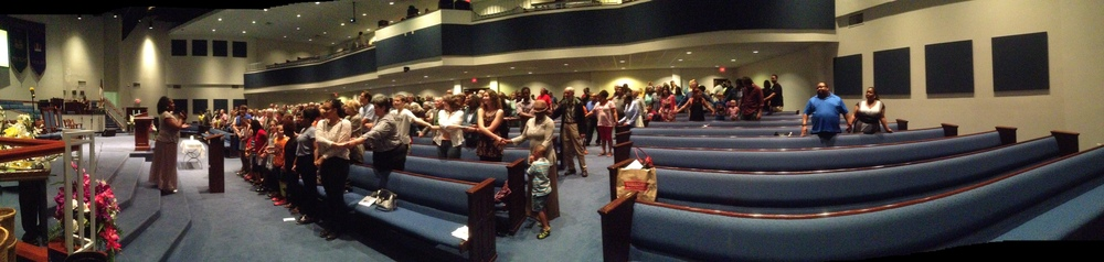 Bloomington's Mt. Pisgah Baptist Church came alive Wednesday with prayers for the nine Charleston church shooting victims.