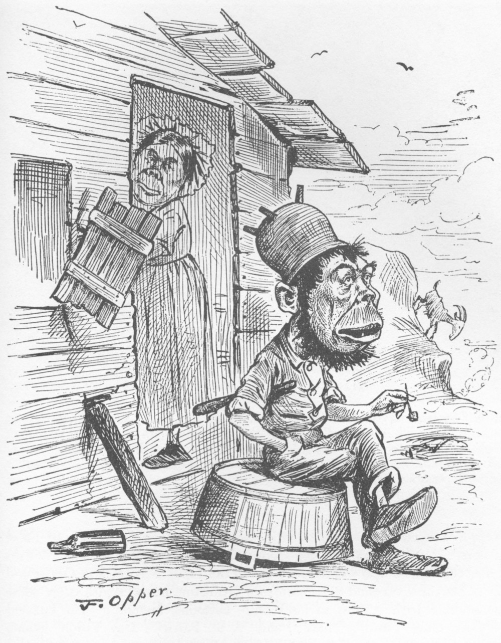 The King of A-Shantee, a cartoon from an 1885 edition of the then-popular magazine Puck's, illustrates the bigotry of the time toward the Irish. The cartoon is one of several pieces of anti-Irish propaganda and prejudice on display at the McLean County Museum of History.