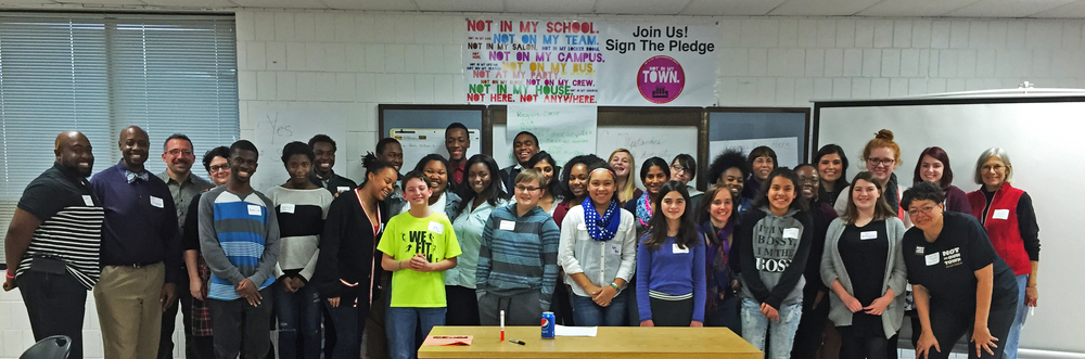 Twin Cities students participated in a Not In Our School workshop this week focusing on stopping bullying and promoting diversity. They were joined by area teachers and Not In Our Town: Bloomington-Normal leaders Camille Taylor, front row right, and Mary Aplington, back row fifth from right.