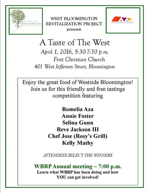 The free competitive tasting event -- sponsored by the West Bloomington  Revitalization Project (WRBP) -- will feature dishes by Romelia Aza, Annie  Foster, ...