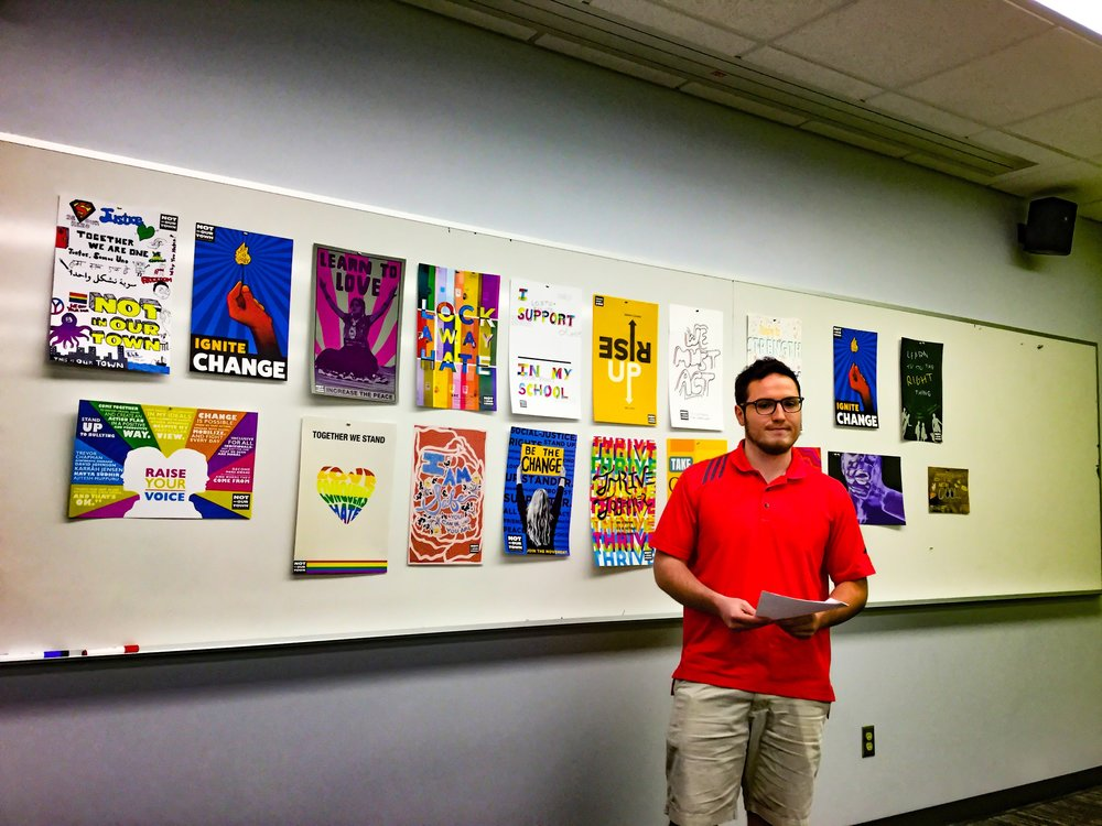 ISU's Evan Morris presents a series of proposed new designs for NIOTBN's Not In Our School programs, developed as part of Archana Shekara's Special Topics In Graphic Design course.