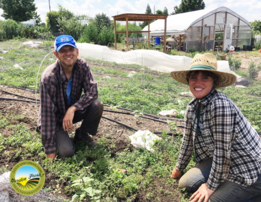 Cody Burnett, Farm Manager (left) and Nobi Ennis Muhl, Farm Assistant (right) pictured at the Good Sam Urban Farm.