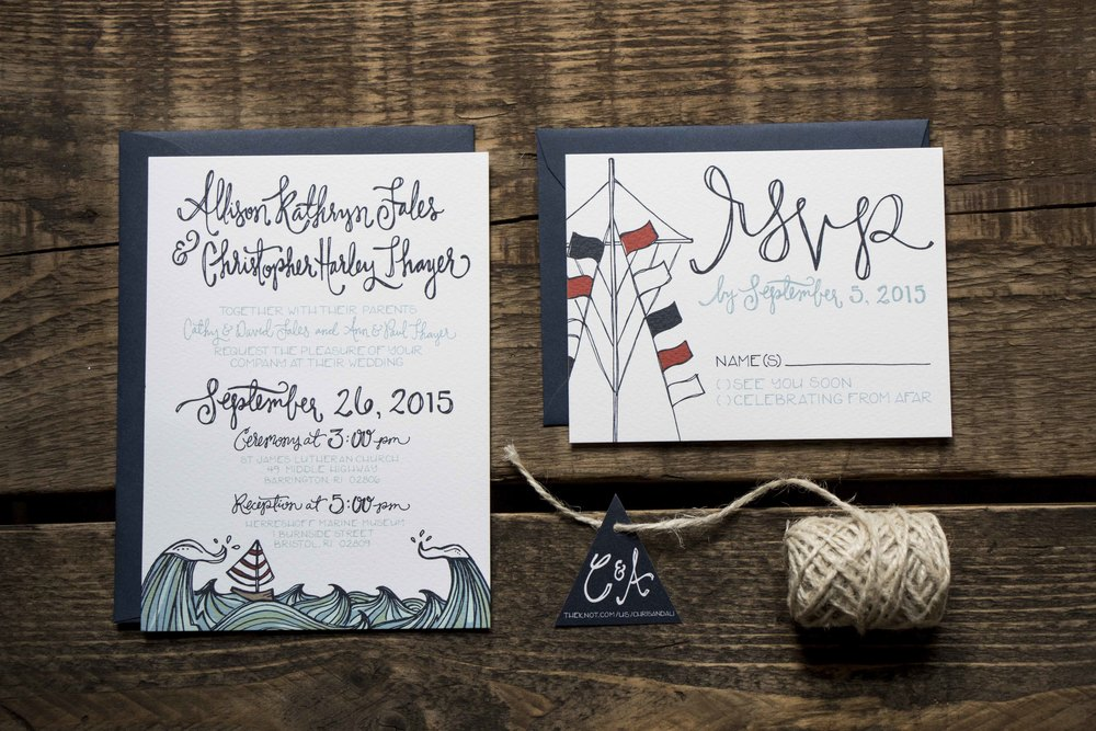 Allison and Christopher Thayer Wedding Stationery and Decor | Sea of Atlas