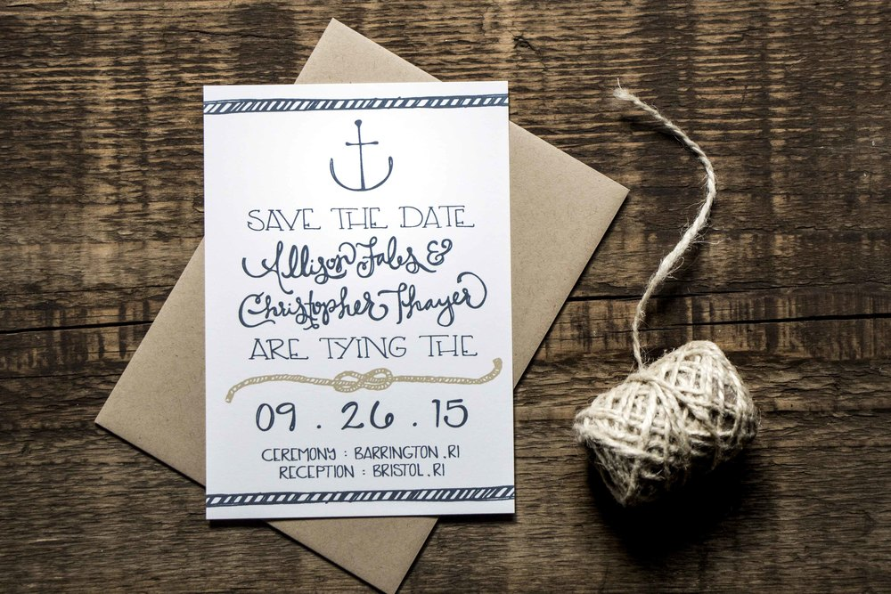 Allison and Christopher Thayer Wedding Save the Dates | Sea of Atlas