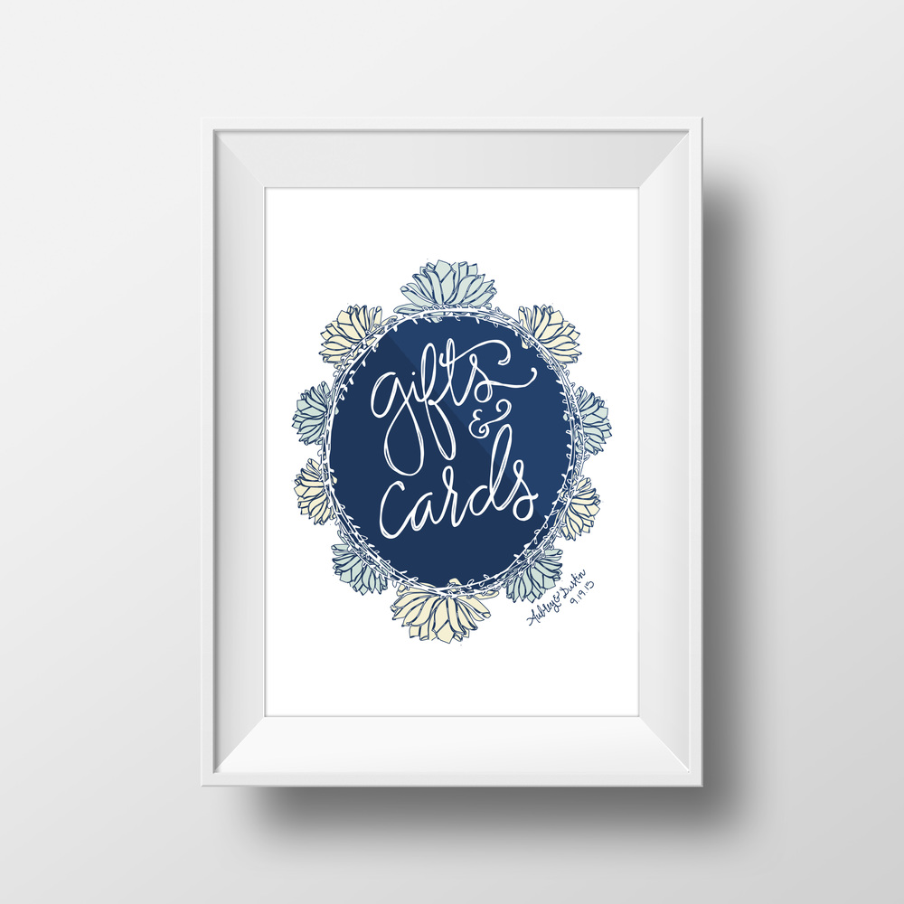 Aubrey and Dustin Zitzmann Wedding Sign for Gifts & Cards   Sea of Atlas