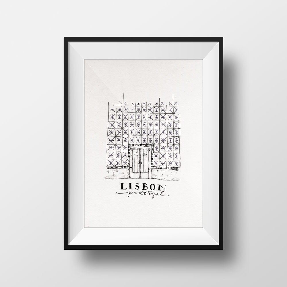 LISBON PORTUGAL pen & ink drawing with hand stitching $75.00