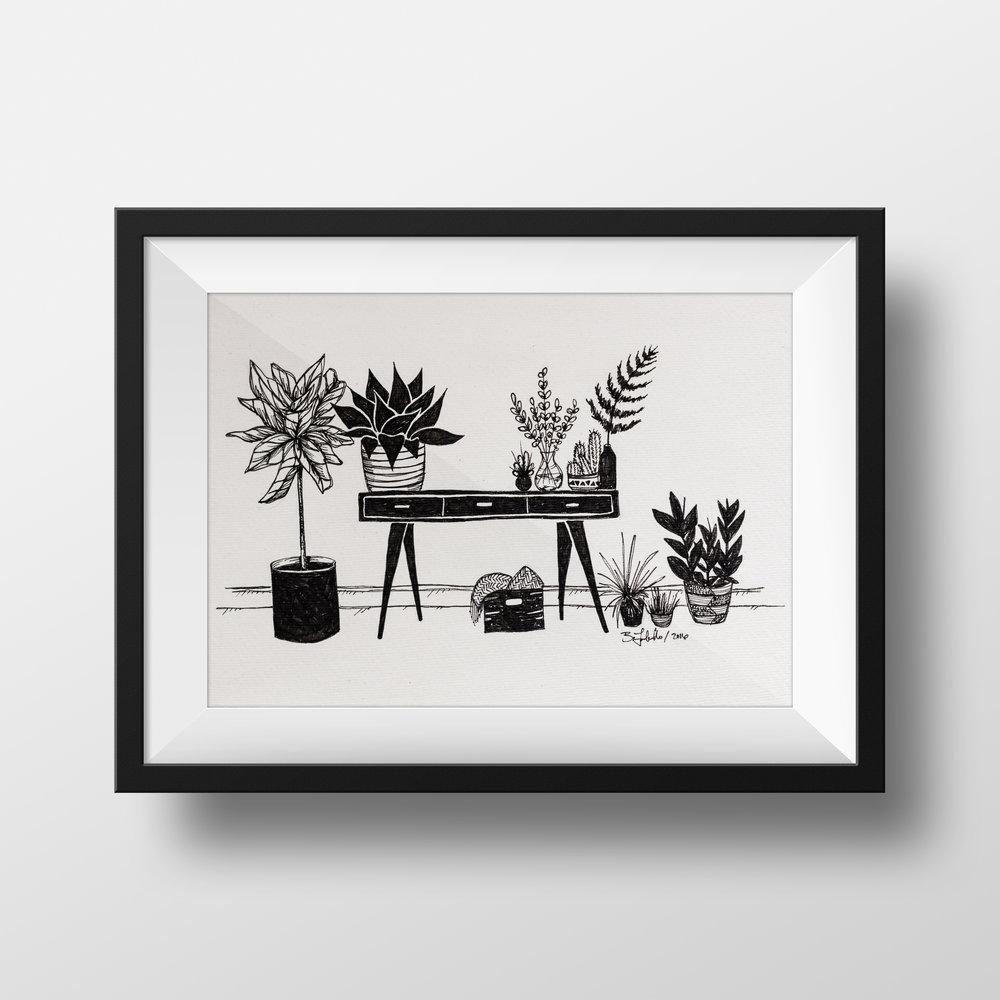 MIDCENTURY MODERN PLANTS pen & ink drawing $55.00
