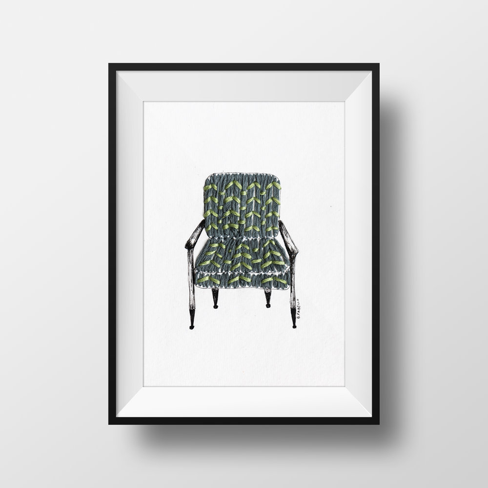 MID-CENTURY MODERN ARMCHAIR pen & ink with hand embroidery $65.00