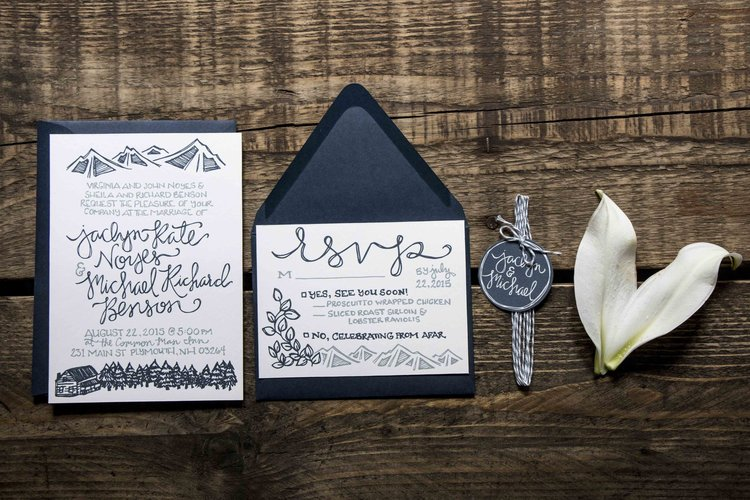 Design jaclyn michaels woodsy wedding invitations britt fabello both save the dates and wedding invitations brittanys work is absolutely stunning she sent us a detailed questionnaire so that she could design stopboris Images