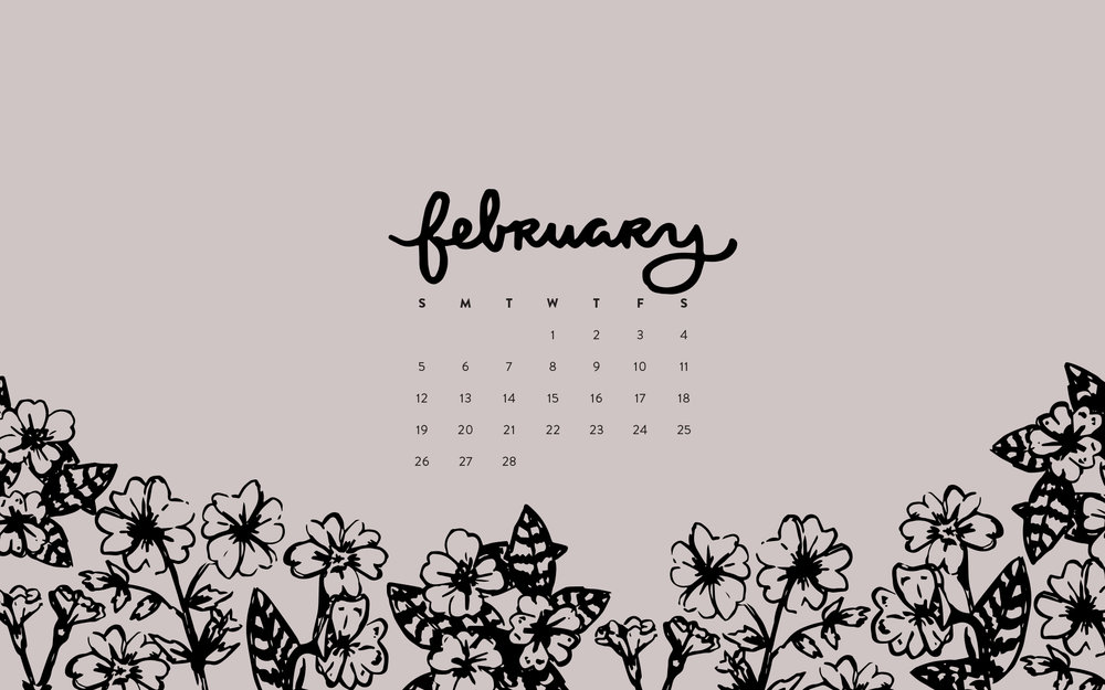 Wallpaper February 2017 Calendar Pattern Britt Fabello