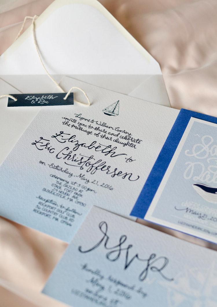 Design: Elizabeth & Eric\'s Nautical Wedding Invitations — Britt Fabello