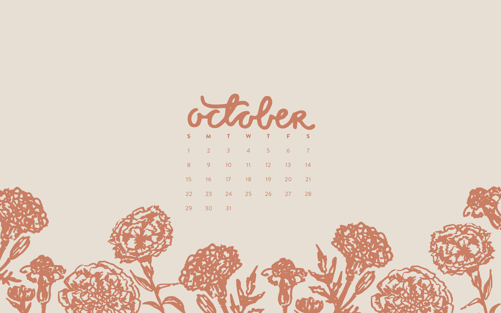 Wallpaper: October 2017 Calendar & Pattern