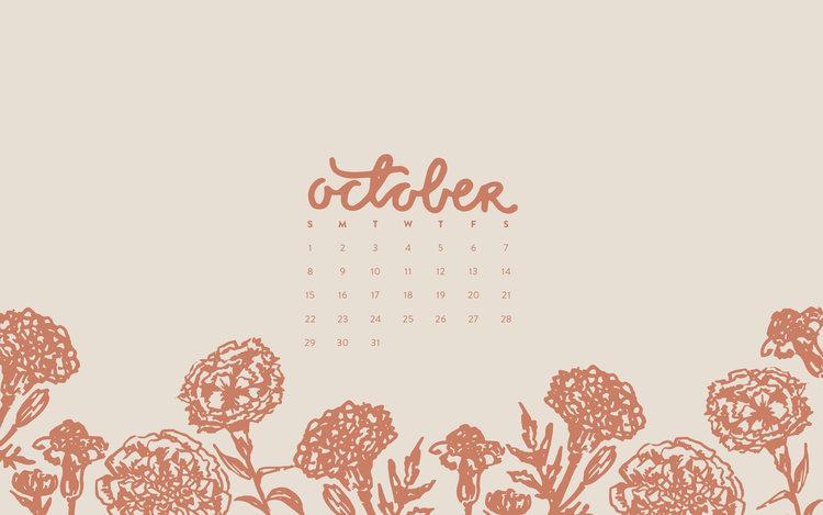 Wallpaper October 2017 Calendar Pattern