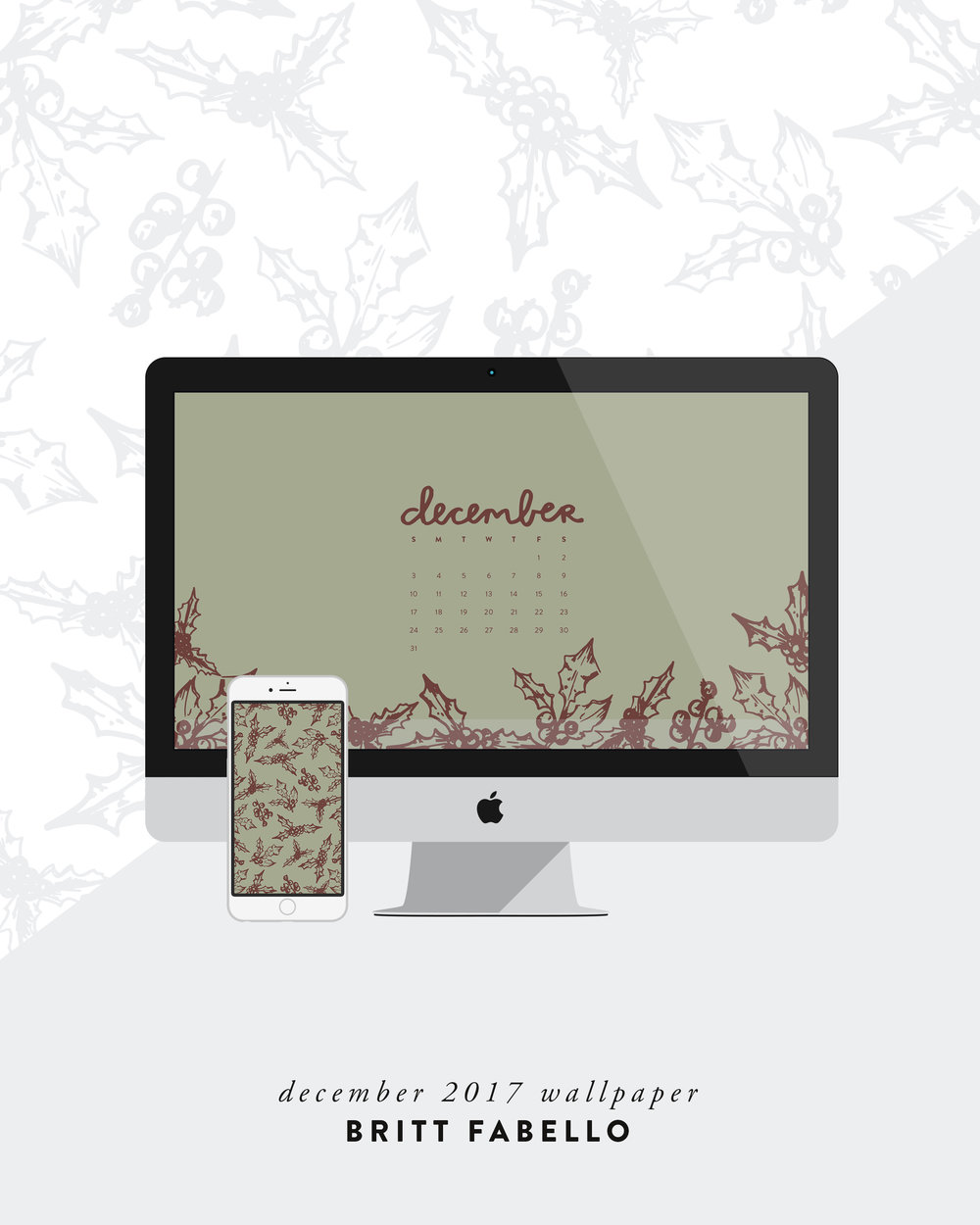 December 2017 Holiday Wallpaper by Britt Fabello