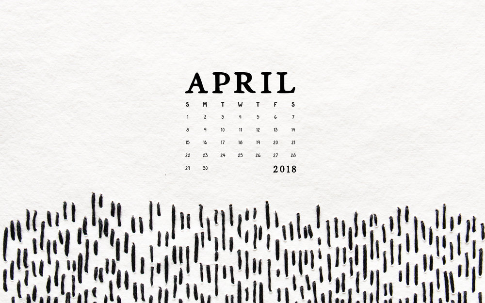 April Desktop Calendar Wallpaper by Britt Fabello