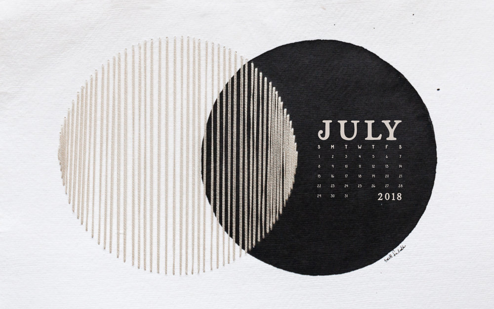 Wallpaper: July 2018 Calendar & Art | Desktop | Britt Fabello