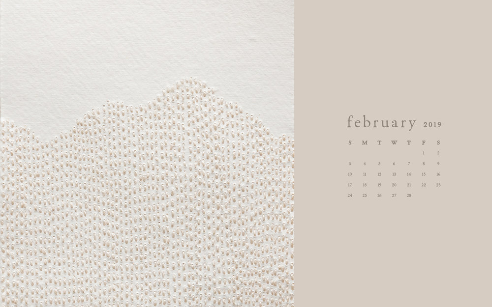 Wallpaper: February 2019 Calendar & Artwork | Desktop Computer | Britt Fabello