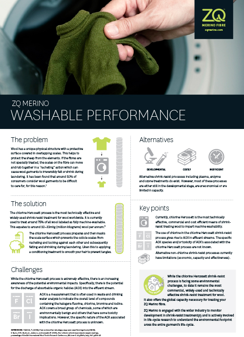 While the chlorine Hercosett shrink-resist process is facing some environmental challenges, to date it remains the most commercial, widely-used and technically effective shrink-resist treatment for wool.