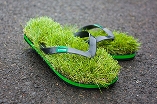 Grass jandals, designed by Kusa