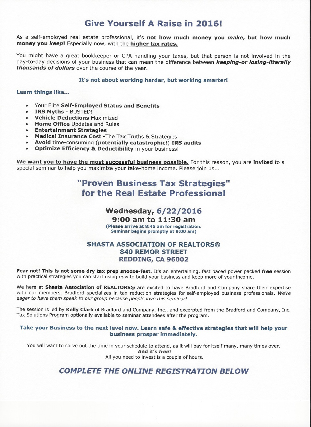 TAX STRATEGIES 2016 REGISTRATION FORM