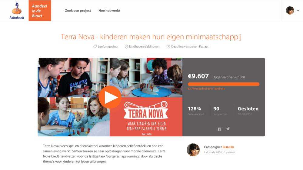 De  crowdfunding voor Terra Nova in samenwerking met Rabobank is in juni 2016 geslaagd met 128%!