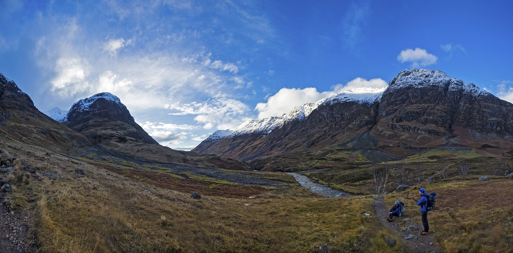 The Aonach Eagach and Glen Coe after shooting in Stob Coire nan Lochan
