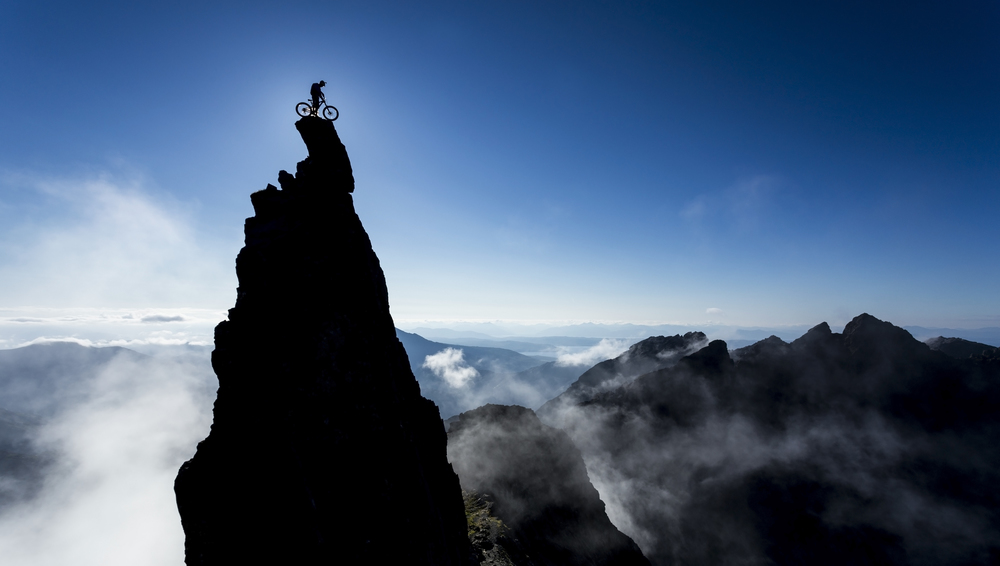 Danny MacAskill on top of the In Pinn during shooting for 'The Ridge'