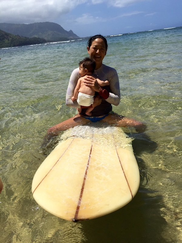Wilder's first time on a surfboard & Mommy's second post-baby surf! Thanks  Naia Bikinis  &  Seea Clothing  for the awesome stylin' attire.