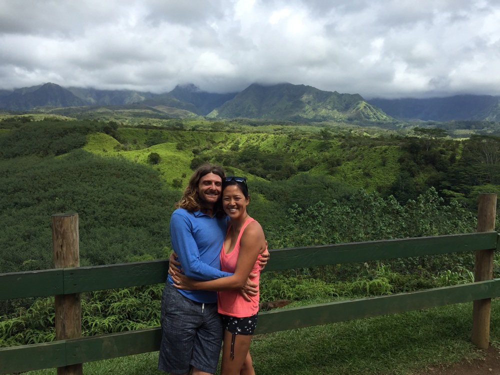 Mt. Wai'aleale in the background, the rainiest spot on the planet.