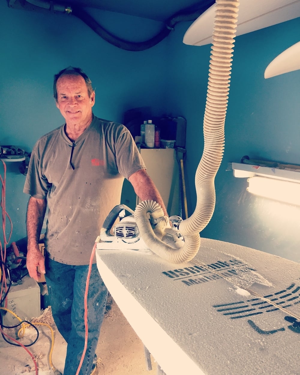 Bill Hamilton at his shaping shop in Kilauea on the North Shore of Kauai.