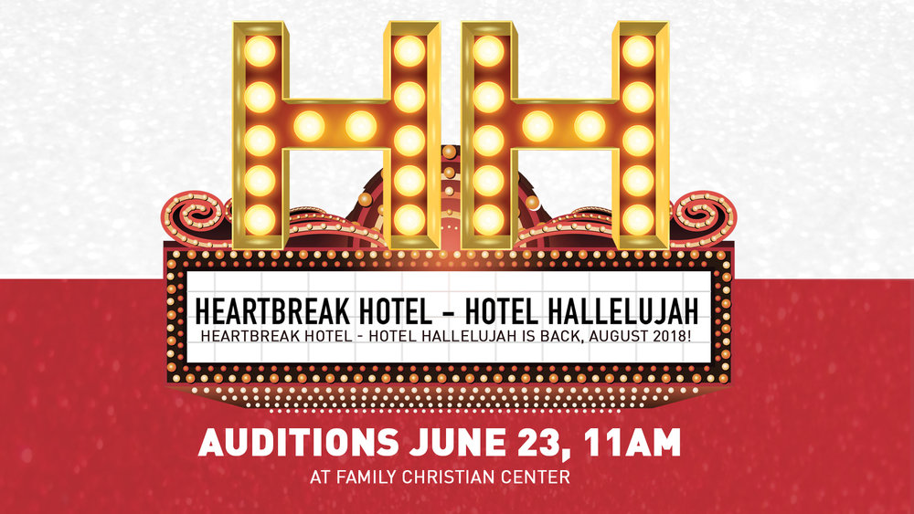 "HEARTBREAK HOTEL - HOTEL HALLELUJAH is back, August 2018! We'd love for you to be apart and audition, JUNE 23, 11AM at Family Christian Center!  Heartbreak Hotel/Hotel Hallelujah auditions are Saturday, June 23, 2018 at 11:00am!  If you want to be on stage, please fill out the ""Actors/dances"" application.  If you are interested in working behind the scenes, fill out the ""behind the scenes"" application.    Come prepared for your audition in costume and with your music.    H4 Actors/Dancers Applications:  https://familychristiancenter.wufoo.com/forms/h4-2018-actordancer-application/   H4 Behind the Scenes Applications:  https://familychristiancenter.wufoo.com/forms/h4-2018-behind-the-scenes-application/   All questions regarding auditions should be directed to the following email:  auditions@refugeproductions.com   Here are just a few celebrity impersonation acts we're looking to see:"