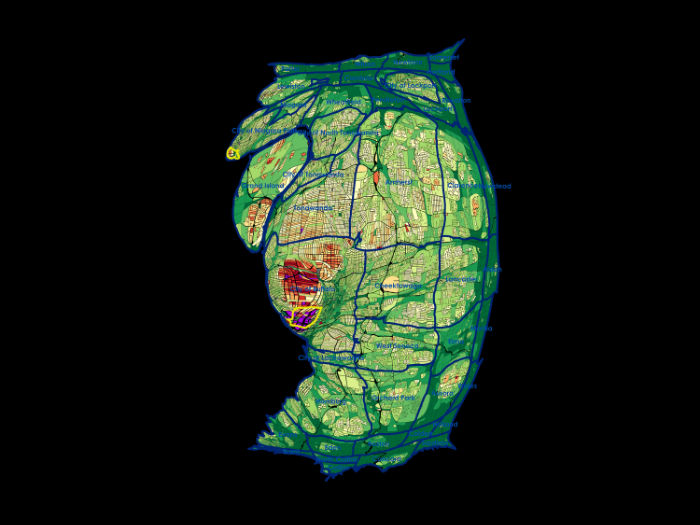 If we distort the image so that the size of property reflects its value we can distinguish the relative tax value of different locations. In blue are boundaries of municipalities, distorted along with the property to reflect relative weight. The yellow boxes reflect the expanded contribution of downtown.