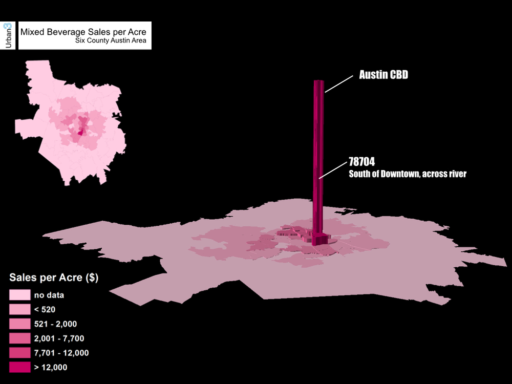 Alcohol Sales per Acre. Yes..people spend a few dollars on drinks in Downtown Austin.