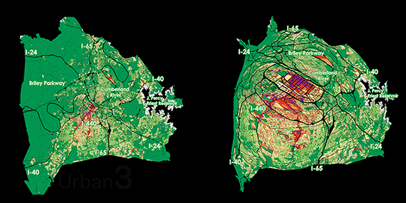 Cartogram weighting Value per Acre by location