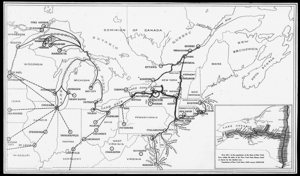 Resources flowed to Buffalo and then on to NYC and the World via the Erie Canal.