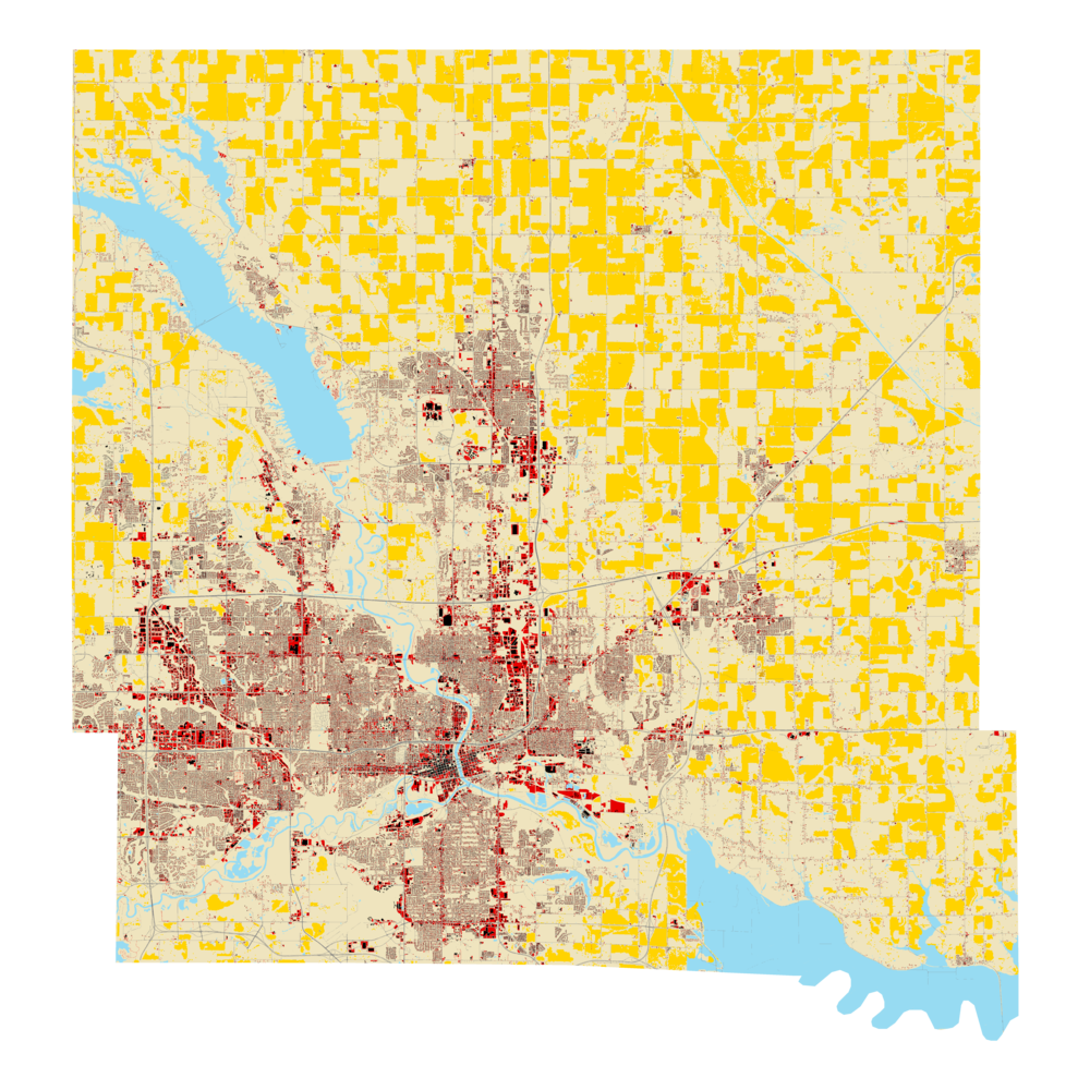 Corn fields shown in yellow.