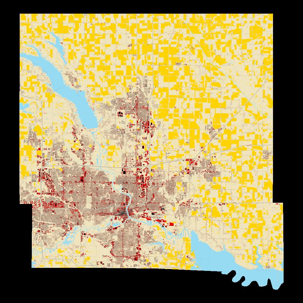 Corn fields shown in yellow.