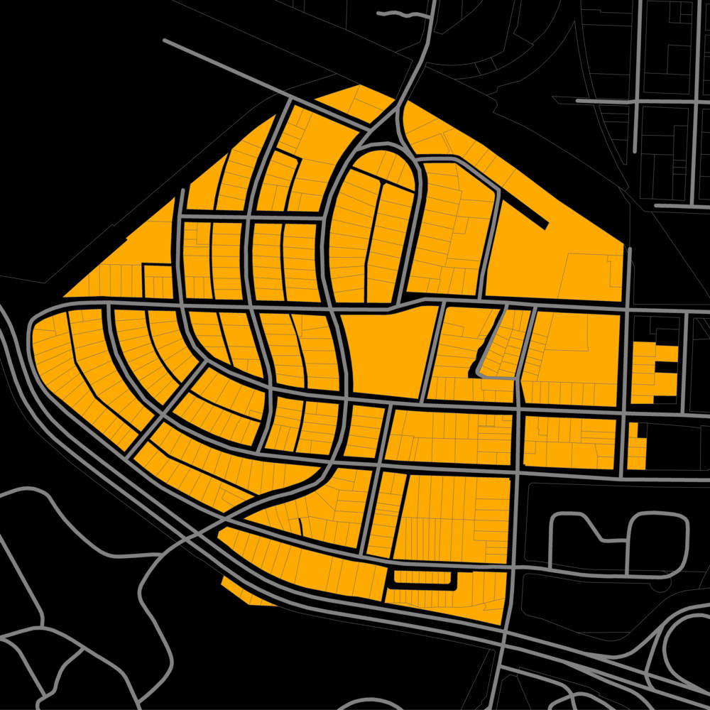 Spooky Halloween map of Raleigh's lovely street-car neighborhood Boylan Heights.