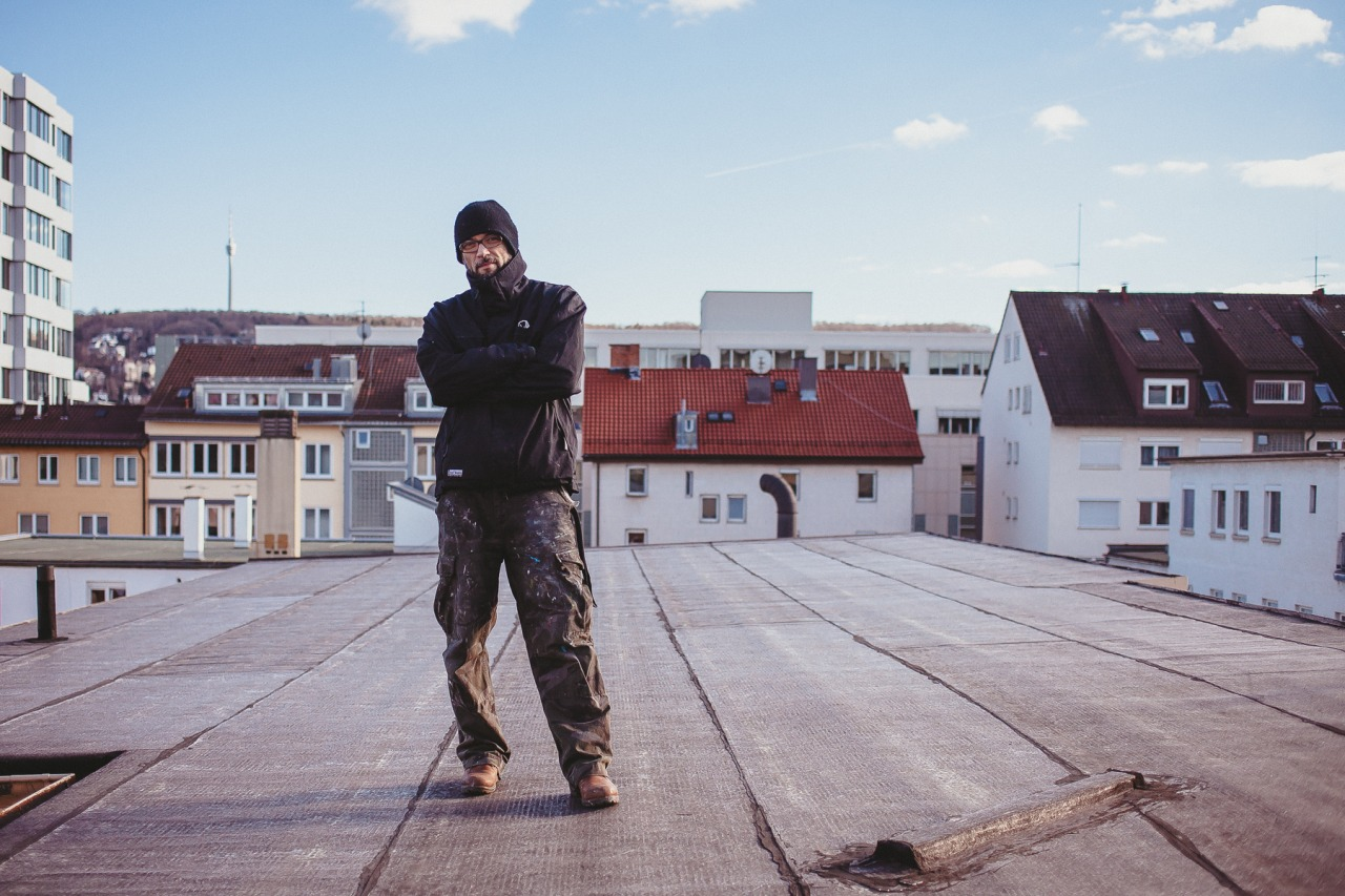 Marc C. Woehr on the roof of the  Urban Art Gallery Stuttgart