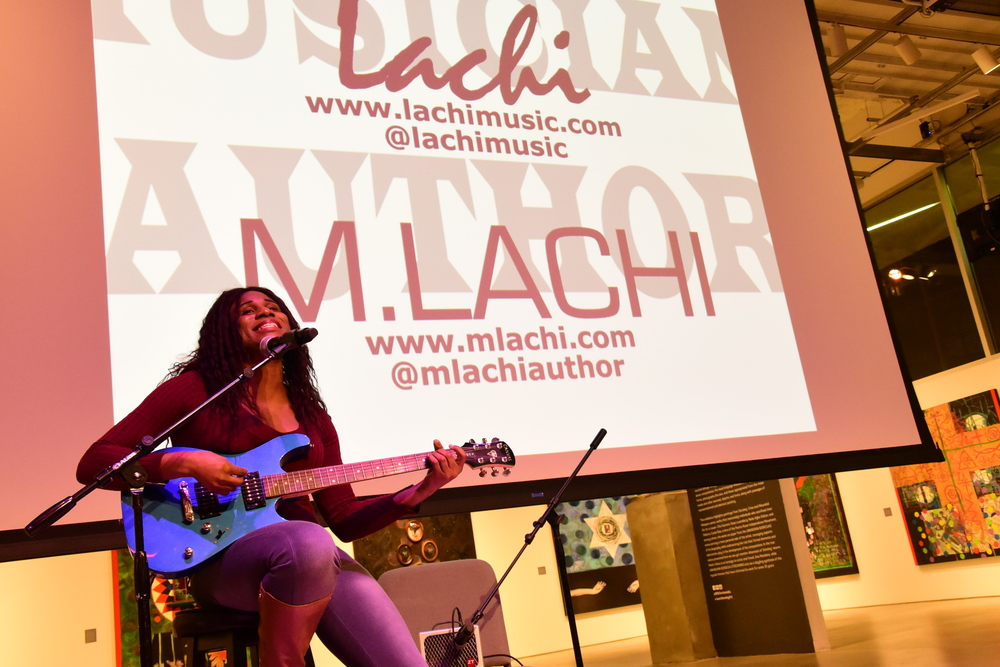 Artist: M. Lachi introduced her amazing book and gave us a taste of her wonderful sound.