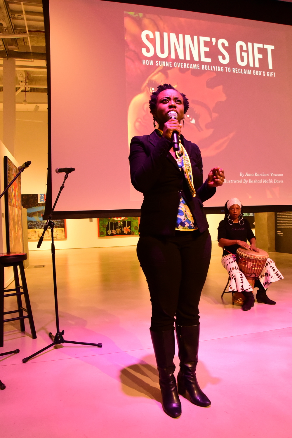 "Artist: Ama KariKari Yawson read insert from her book powerful book ""Sunne's Gift""."
