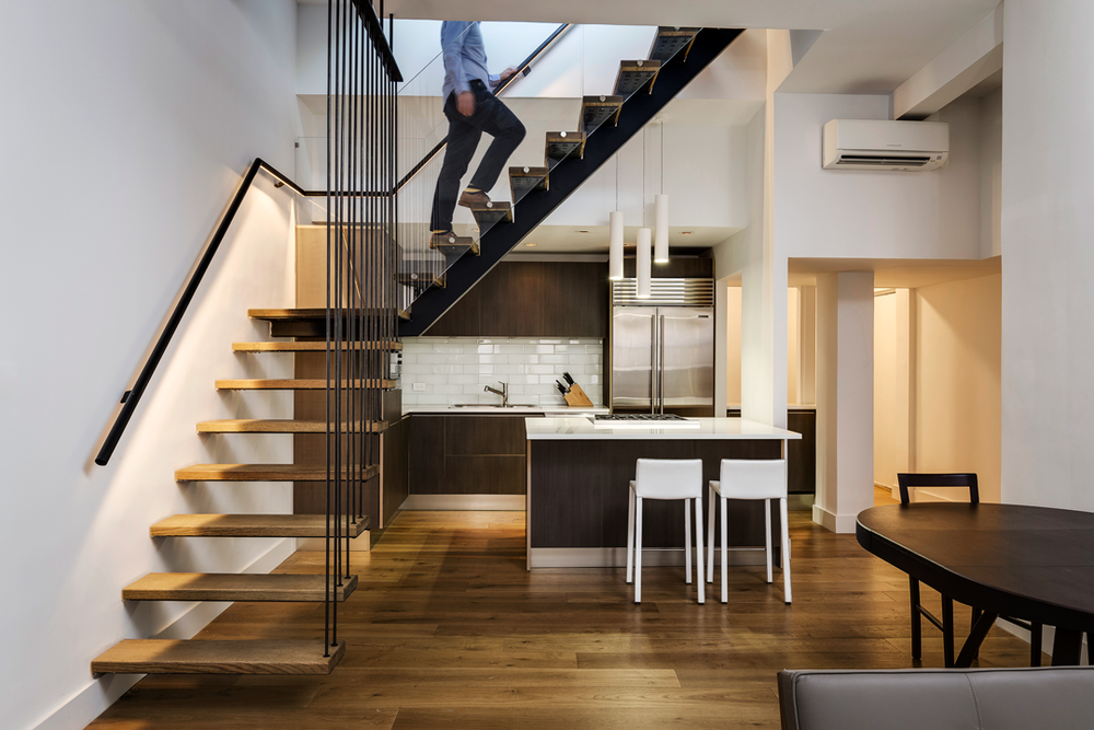 Chelsea Duplex Apartment Floating Stairs Kitchen