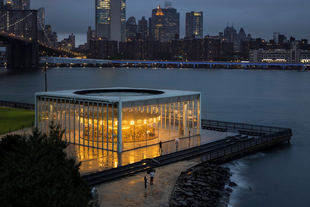 Jane's Carousel at Brooklyn Bridge Park on a Stormy Night
