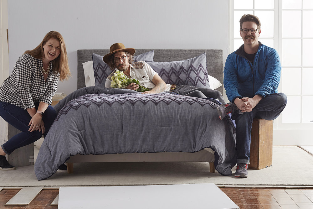 Maggie, Walt and myself in a room scene set for Belk Department store.