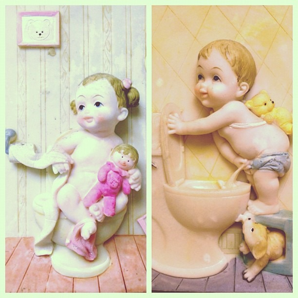 #bathroom #art at the #nailspa #his #hers #toilet art #cutest #babies #on the #pot