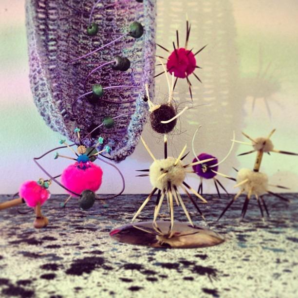 #alienlanding #extraterrestrials #handmade #creatures #pompom & #porcupine #stingers #goingup the #mothership