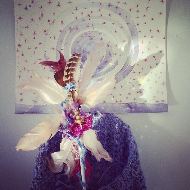 #fullmoon #tree #man #raining #stars on the #lunatic #ritual #neo #native #spirit #watercolor #crochet #installation