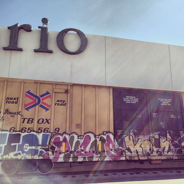#rio #river #crop behind the #eldiario #newspaper #grafftrain #benched on #elpasostreet #bikingphotoadventures #drivebyshooting